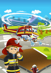 Cartoon stage with different machines for firefighting - helicopter and firefighter - colorful and cheerful scene - illustration for children