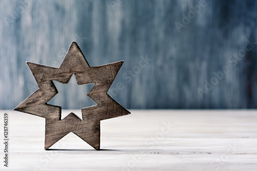Poster wooden christmas star
