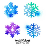 Winter watercolour snowflakes  - vector illustration