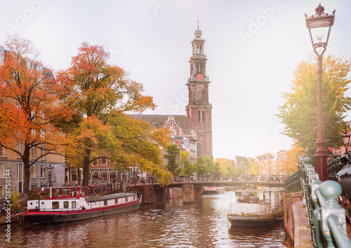 Poster Amsterdam canal and Westerkerk