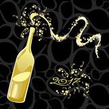 Celebrating the New Year, bubbly bottle