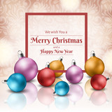 Colorful Christmas baubles with red frame, for greeting card. Vector illustration on floral background pattern.
