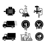Black vector icons, isolated set on white background
