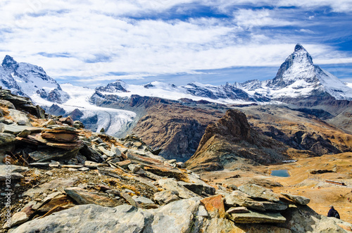 Matterhorn, Gornergrat Bahn, Riffelsee, Zermatt, Wallis, Schweiz Poster