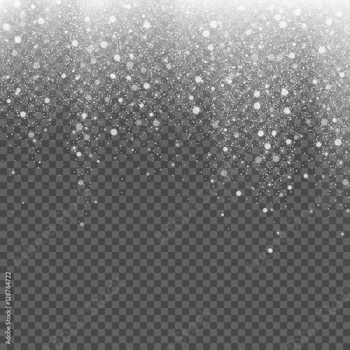 Plakat Falling snow on a transparent background. Vector illustration