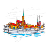 Cathedral Island or Ostrow Tumski with Cathedral of St. John and church of the Holy Cross and St. Bartholomew in Wroclaw, Poland. Picture made markers