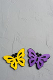 Purple and yellow textile butterflies