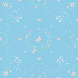 Floral garland pattern with flowers and butterflies