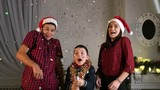 young people scared of Christmas petard, slow motion