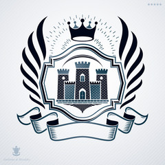 Vintage vector emblem made in heraldic design with medieval fort