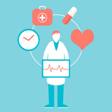 Doctor and heart health with medicine and cardiogram