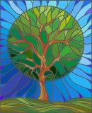 Naklejka Illustration in stained glass style with tree on sky background