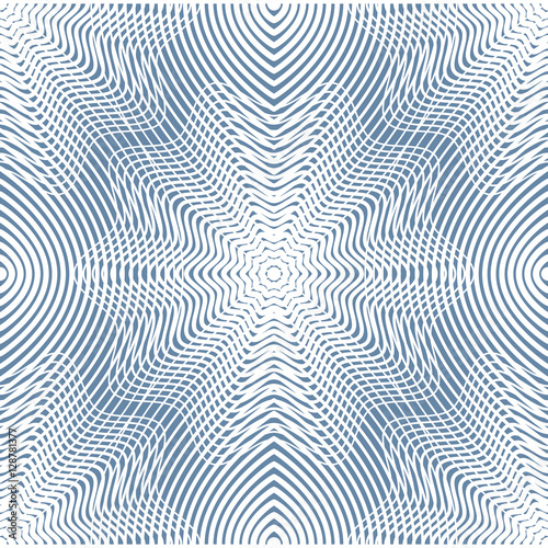 Continuous vector pattern with graphic lines, decorative abstrac - 128781377