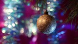 Beautiful Christmas background. Golden Ball on a Christmas tree