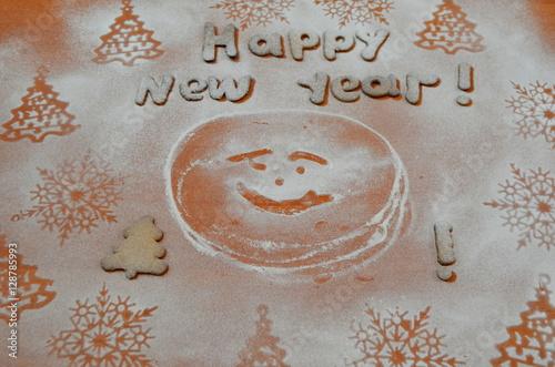 Poster Новый год, печенье под сахарной пудрой . Год петуха