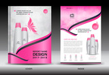 Annual report brochure flyer template, Pink cover design, cosmetics brochure flyer template