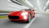 Fototapeta Fototapety do przedpokoju - red sport car in a tunnel. fast driving. oil concept. 3d rendering. © chagpg