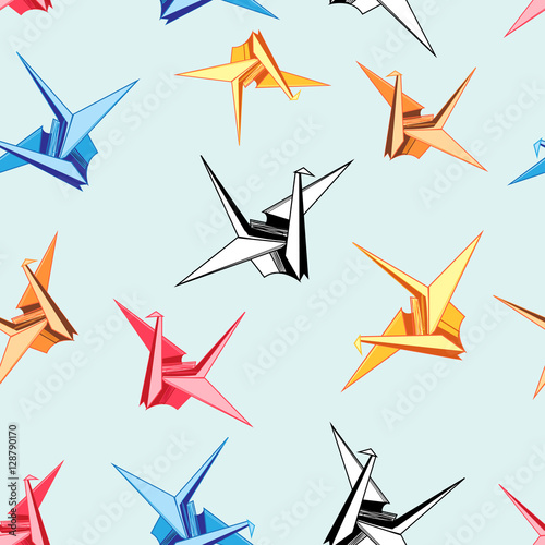 Graphic pattern of origami birds - 128790170