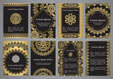 Vector templates with mandala in black, gold and white colors