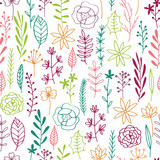 Seamless floral sprigs background, multicolored cartoon flowers and branches