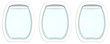 Three plane porthole windows on white background with Copy space. 3d illustration. - 128804172