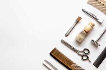 Instruments male hairdresser barbershop top view