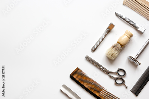 Instruments male hairdresser barbershop top view Poster