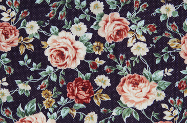 Colorful Cotton fabric in vintage rose pattern for background or