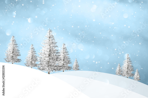 Poster Lovely winter snowfall landscape with snowy trees on the hills