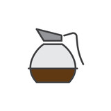 Coffee Decanter line icon, filled outline vector sign, linear colorful pictogram isolated on white. logo illustration