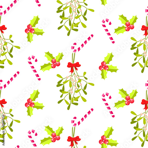 Cotton fabric Festive kissing bough seamless vector pattern. Traditional plant tied with red bow. Holly berry and stripes candy cane white background.
