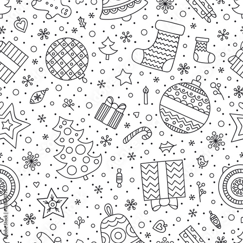 Christmas elements. Vector seamless pattern with winter holiday objects - christmas tree, sock, gingerbread man, present, candy, star, heart, ball, bell. Christmas coloring page for coloring book.