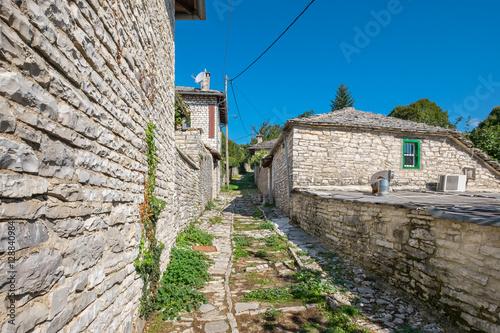 Street in Monodendri village. Zagoria, Greece