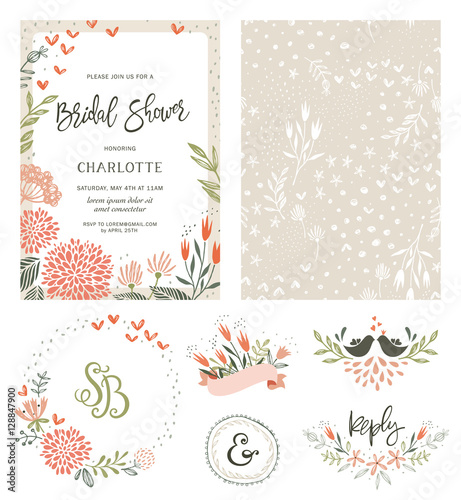 Rustic hand drawn Bridal Shower invitation with seamless background and floral design elements. Vector illustration. - 128847900