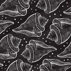 Vector seashells seamless pattern on a chalkboard background