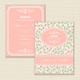 Set of 2 Wedding Invitation card with roses.