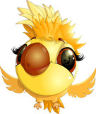 happy yellow bird cartoon flying