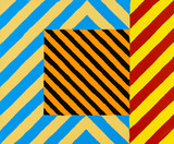 An abstract painting constructed from stripes and chevrons - 128851704