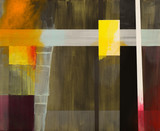 An abstract painting; geometric abstraction with with overpainting. - 128854176