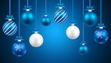 Fondo navidad bolas azul