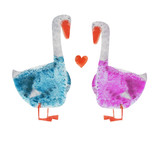 2 Goose in blue and pink suit with heart. Hand drawing illustration - 128860514