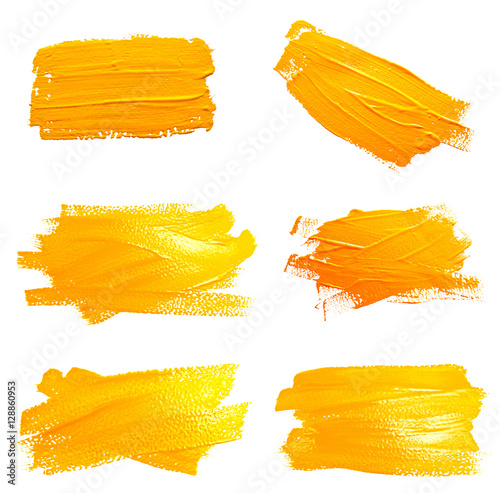 Poster Collection of photos yellow ochre strokes