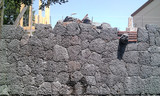 Construction works - stone wall construction