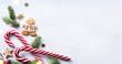 Christmas gift composition. Christmas holiday sweets and fir tre