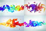 Vector set of faceted 3d crystal colorful shapes, banners.   ,   - 128867382