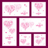 Set of Valentines wishes with abstract hearts