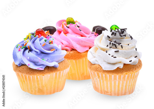 Poster colorful of mini tasty cupcake isolated on white background