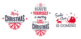 Merry christmas set of modern lettering in dark blue and red, with trendy colors, text and decoration, collection of premium vector illustration for christmas postcard, banner and wish card - 128874545