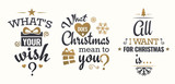 Merry christmas set of gold lettering, with caligraphic letters, text and decoration, collection of christmas vector illustration for postcard, banner and wish card - 128874702