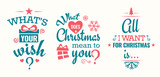 Merry christmas set of modern lettering in turquoise and pink, with trendy colors, text and decoration, collection of premium vector illustration for christmas postcard, banner and wish card - 128874985